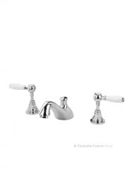 Mooie driegats enkele fonteinkraan met warm en koud apart van de nostalgische kraan met elegante kromming